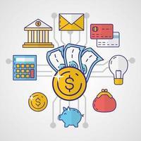 geld, financiën en technologieconcept met pictogrammen vector