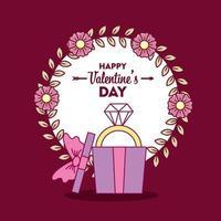 Valentijnsdag ontwerp met schattige diamanten ring vector