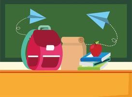 terug naar school-poster met schooltas en benodigdheden vector