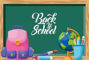 terug naar school-poster met schoolbord en benodigdheden vector