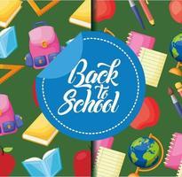 terug naar school poster patroon achtergrond instellen vector