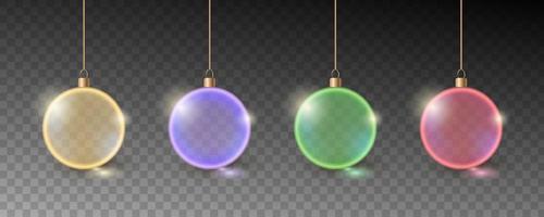kleurrijke kerstballen. set van realistische decoraties. vector