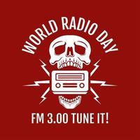 wereldradiodag met schedel ontwerpconcept vector