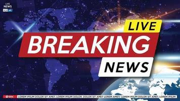 breaking news live op de achtergrond van de wereldkaart. vector