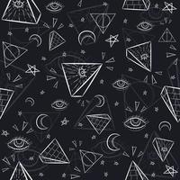 naadloos patroon met illuminati en occulte symbolen vector