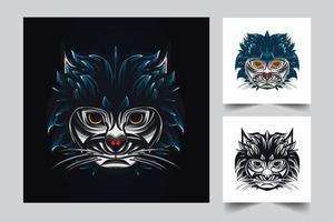 schattig kattenkunstwerk vector