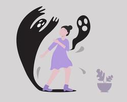 een meisje met psychotische symptomen van schizofrenie vector