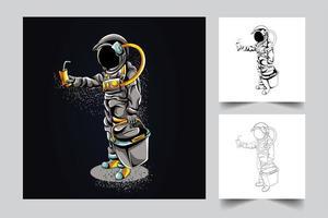 astronaut winkel kunstwerk illustratie vector