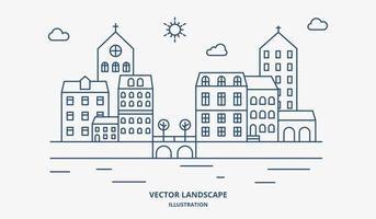 dorpslandschap met huizen en bomen. voorstedelijk landschap platte lijn ontwerp.