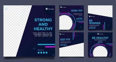 fitness postsjablonen voor sociale media. modern vectorontwerp. vector illustratie.