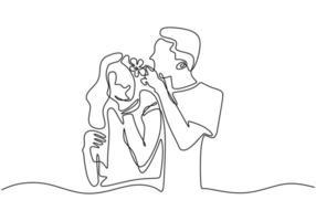 doorlopende lijntekening. romantisch koppel. een man zette bloemen op het haar van een meisje. vector