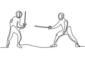 een doorlopende lijntekening van twee jonge mannen schermen atleet praktijk vechtactie op sportarena.