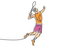 een lijntekening van jonge man tennissen. vector