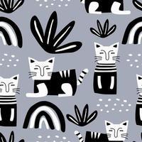 schattige katten naadloze patroon. vector