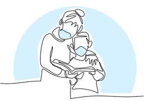 continu een lijntekening van een kind en moeder die het boek vasthouden. vector