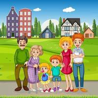 openluchtscène met gelukkige familie vector