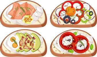 set van brood met topping geïsoleerd