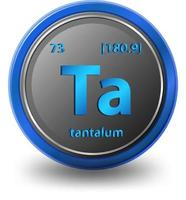 tantaal scheikundig element. chemisch symbool met atoomnummer en atoommassa.