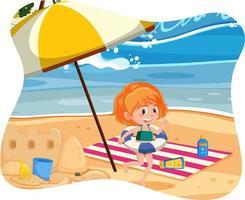 gelukkig meisje op het strand vector