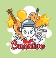 jonge man met creatieve kunstpictogrammen vector