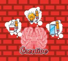 hersenorgel met creatieve pictogrammen vector