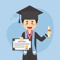 gelukkige afgestudeerde student in zwarte hoed en jas met diploma vector