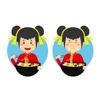 schattig meisje traditionele chinese kledij eten kom ramen noodle vector