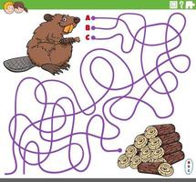 educatief doolhofspel met cartoon bever en houtblokken vector