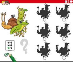 educatief schaduwspel met dierlijke stripfiguren vector
