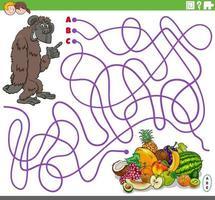 educatief doolhofspel met cartoongorilla en fruit vector