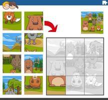 puzzelgame met komische dierenfiguren vector