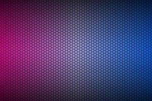 abstracte blauwe en paarse neon geometrische zeshoekige mesh materiële achtergrond. geperforeerd metallic technologie behang. vector abstracte breedbeeld achtergrond