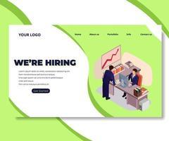 baan freelance illustratie zakelijke bestemmingspagina, websjabloon met kleine mensen vector