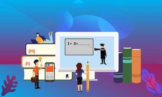 online afstandsonderwijs onderwijs kleine mensen karakter illustratie, geschikt voor behang, banner, achtergrond, kaart, boekillustratie en weblandingspagina