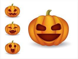 halloaween schattige emoticons, emoji-set vector