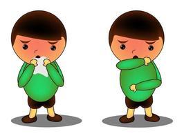 karakter niezen en hoesten goed en fout. medische aanbeveling om goed te niezen. preventie tegen virussen en infectie. hygiëne concept.