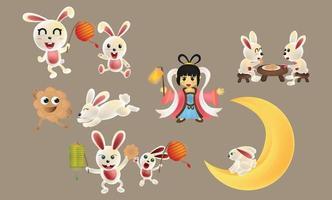 medio herfst festivalcollectie. schattige konijnen, maanprinsessen, mooncake, chinese lantaarns geïsoleerd