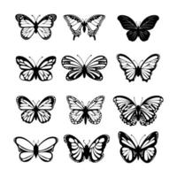 set vlinder op witte achtergrond vector