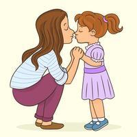 vrouw kuste haar schattige dochtertje teder vector