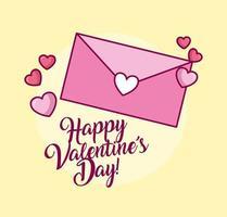 Valentijnsdagviering met envelop en hart vector