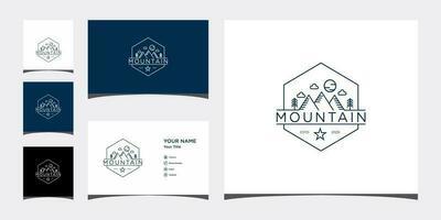 berglijn logo sjablonen en visitekaartje ontwerp premium vector
