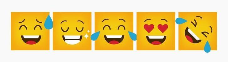 ontwerp reactie vierkante emoticon set plat