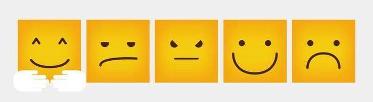 reactie vierkante emoticon platte ontwerpset - vector