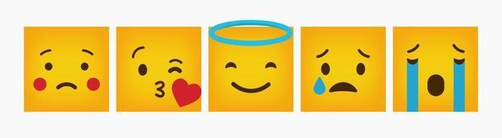 ontwerp emoticon reactie platte vierkante set