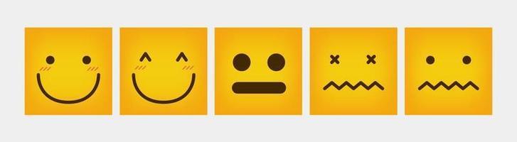 reactie vierkante ontwerp emoticon set plat
