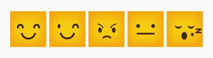 ontwerp reactie emoticon platte vierkante set