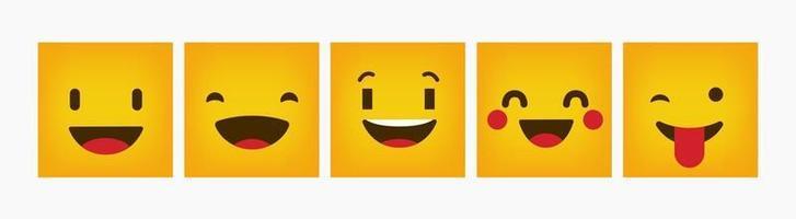 reactie ontwerp emoticon platte vierkante set
