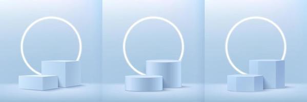 set van abstracte kubus ronde en zeshoekige display voor product op website in modern design. achtergrondweergave met podium en minimale textuurmuurscène, 3d teruggevende geometrische vorm lichtblauwe kleur.
