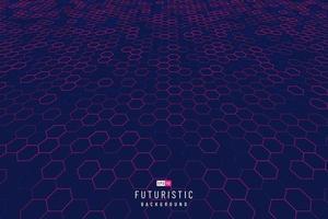 abstract technologie rood zeshoek perspectiefpatroon op donkerblauwe achtergrond. futuristisch dynamisch rasterpatroonontwerp. moderne eenvoudige geometrische sjabloon. vector illustratie