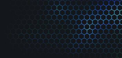abstract donker hexagon patroon op blauwgroene neonkleur achtergrondtechnologiestijl. modern futuristisch honingraatconcept. u kunt gebruiken voor omslagsjabloon, poster, bannerweb, flyer. vector illustratie